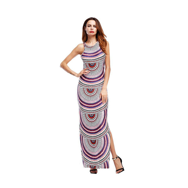 European And American Women Fashion Striped Slit Print Bandage Dress Dress Evening Dress