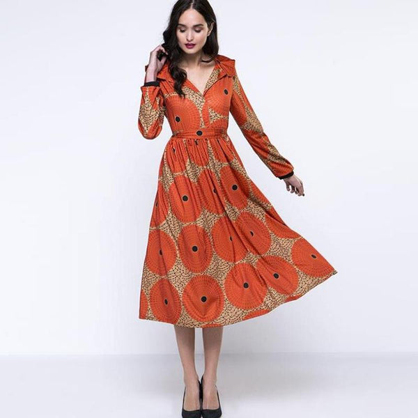 European And American Plus Size Women Retro Long-sleeved Temperament Slim Hooded Dress Female