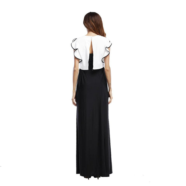 Cross-border Europe And The United States New Short-sleeved Stitching Temperament Black And White Color Matching Knitted Dress