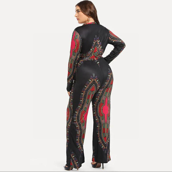 European And American Plus Size Women Clothing Autumn And Winter Deep V Printed Trousers Lace-up Jumpsuit Women