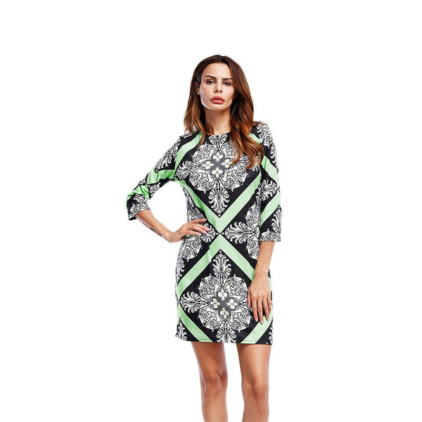 Cross-border Women Clothing Amazon Summer New Style Three-quarter Sleeve Round Neck Collection Tight-fitting Printed Dress Women