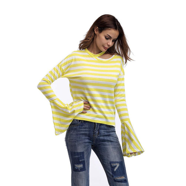 Autumn And Winter Round Neck Trumpet Sleeve Striped T-shirt Long-sleeved Top Women