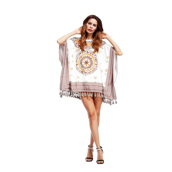Cross-border Women Amazon Middle East Printed Beach Blouse Loose Large Size Short Skirt Women