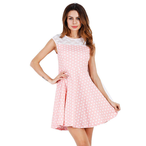 Women Cross-border Summer New Sweet Polka Dot Lace Stitching Dress A-line Skirt