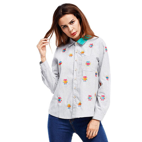 Cross-border Autumn And Winter New Long Sleeve Personalized Printed Shirt Casual Top Women Clothing