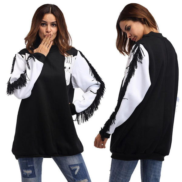 Autumn European And American Round Neck Loose Top Bat Sleeve Tassel Stitching Long-sleeved Sweater