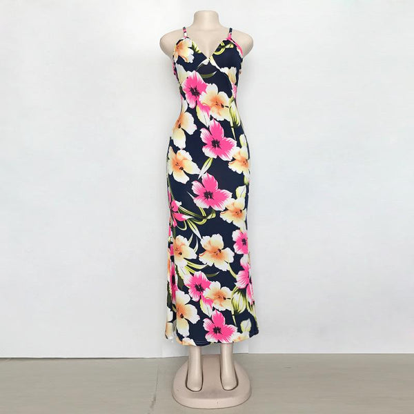 Summer European And American Sling Deep V-neck Dress Was Thin Print Long Skirt Beach Skirt Women