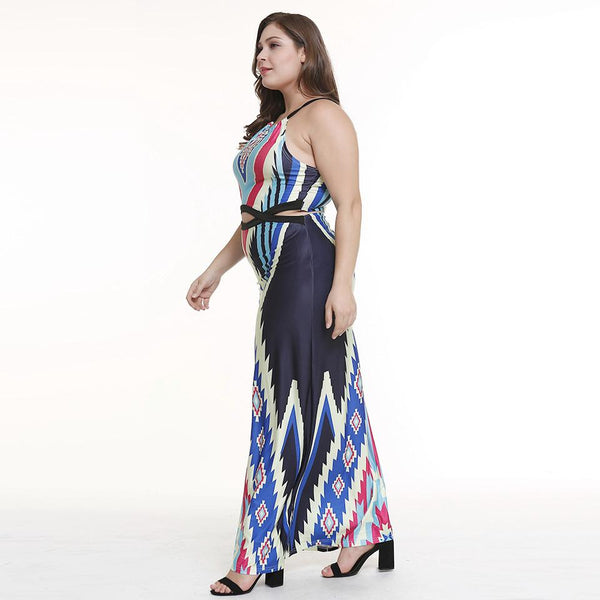 European And American Bag Hip Long Skirt Hanging Neck Strapless Print Dress Strap Beach Skirt