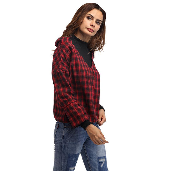Europe Station New Plaid Shirt Stitching High Neck Long Sleeve Shirt European Style