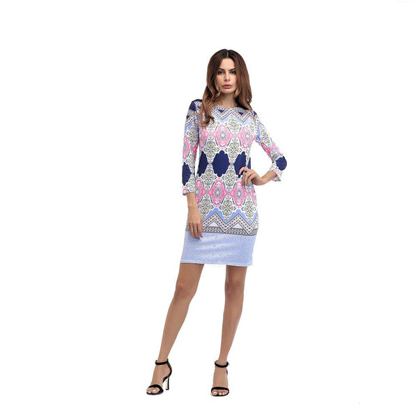 Women Nine-point Sleeve Digital Print Dress Round Neck Slim Skirt Women