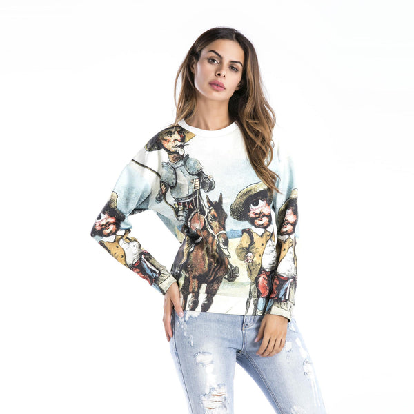 Amazon Cross-border New Products European And American Autumn And Winter New Women Personality Character Pattern Sweater Top