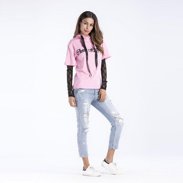 Summer New New European And American Pullover Sweater Women Lace Sleeve Stitching T-shirt
