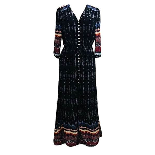 Autumn And Winter New Products Amazon European And American Women Printed Button Dress Long Skirt Waist