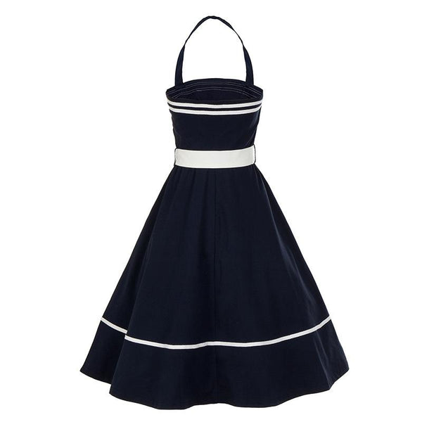 New Retro Elegant Waist Hanging Neck Solid Color Slim Slimming Big Swing Dress Women