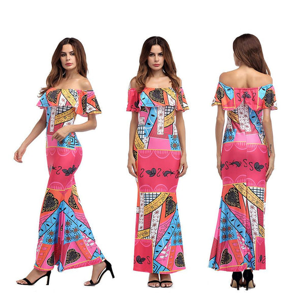 Slim Slimming Long Skirt European And American Women Printed Stitching Ruffled Strapless Neckline Dress Long Skirt Female