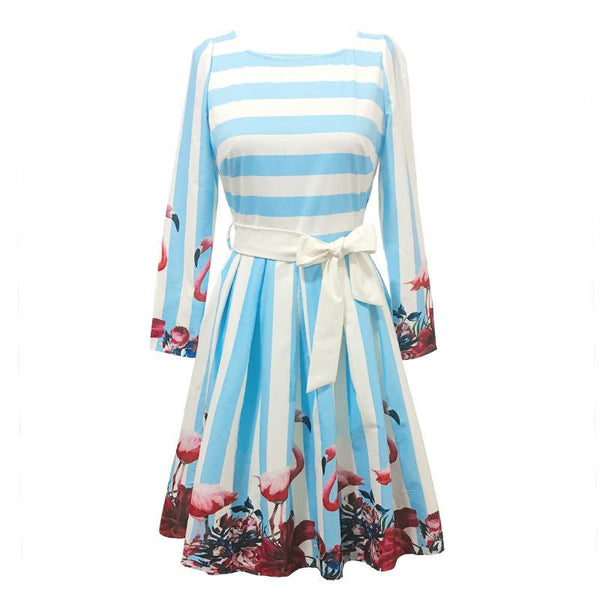 Autumn And Winter Print Retro Women Long-sleeved Waist Slimming Skirt Dress