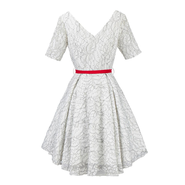 Cross-border European And American Retro Women Fit V-neck Sleeves Crochet Lace Dress