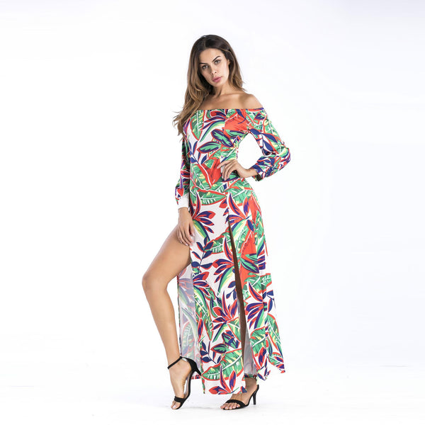 European And American Women Season One-line Collar Off-the-shoulder Printed Split Dress Female Autumn