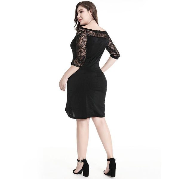 Europe And America Pure Color Women Lace Sleeve Splicing Dress Skinny Irregular