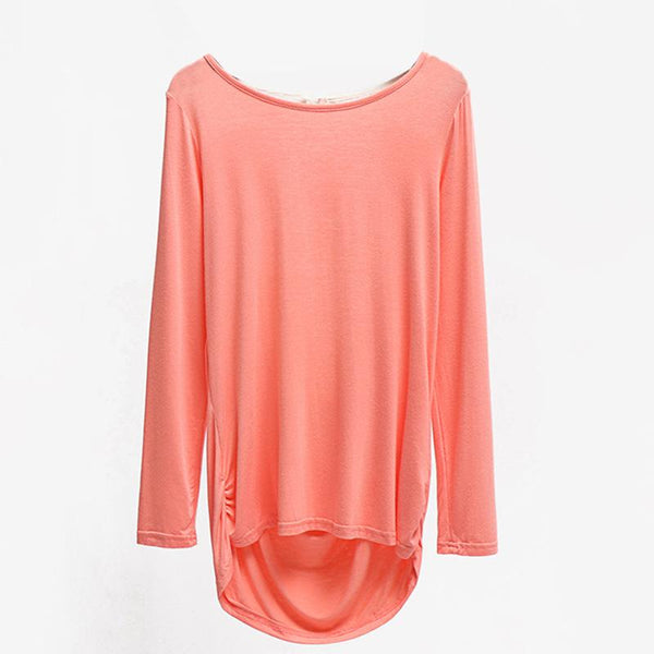 New Solid Color European And American Hollow Round Neck Top Long Sleeve Autumn And Winter Women Clothing