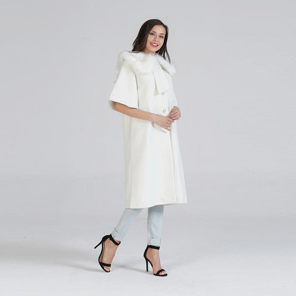 Women Winter New Korean Style Solid Color Mid-length Sleeves Rabbit Fur Fur Collar Woolen Cloth Coat Cloak Coat