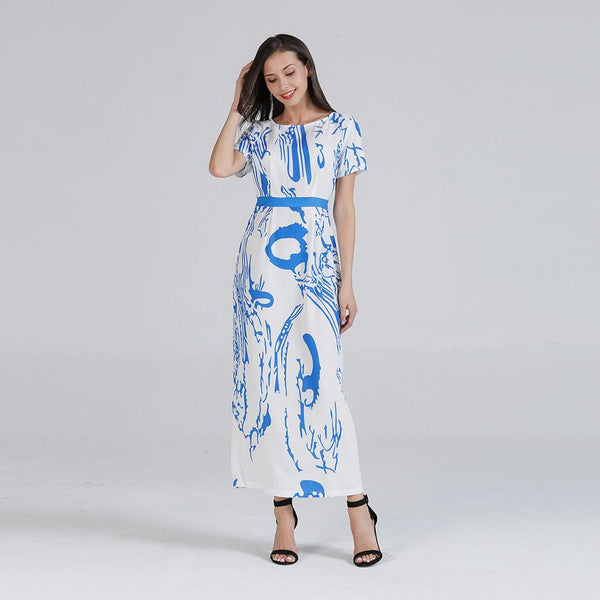 Women Summer New European And American Fashion Short-sleeved Dress Printed Lace-up Dress