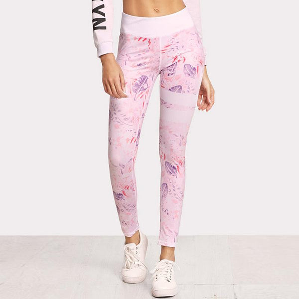 Women Leisure Digital Printing Yoga Fitness Pants Sports Leggings Tight-fitting Stretch Thin Feet Trousers