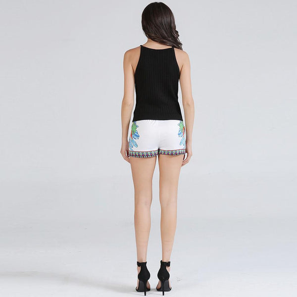 Women European Style Summer New High Waist Printed Sexy Shorts Hot Pants