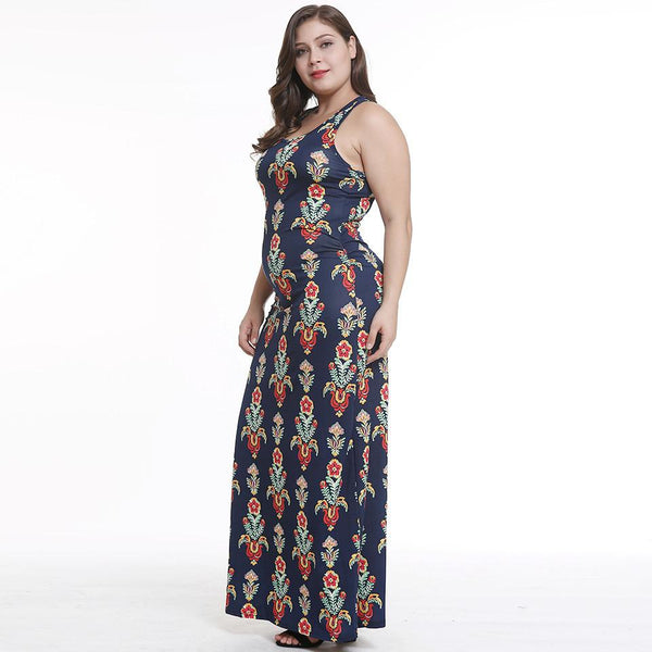 Plus Size Women Clothing New Style V-neck Print Summer New Style Deep V Waist Dress Sexy