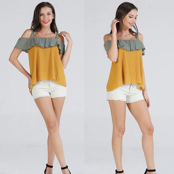 Summer New Korean Women Short-sleeved Neckline Halter Shirt Off-shoulder Ruffled Blouse