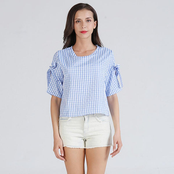 Women Summer New European Style Casual Round Neck Plaid T-shirt Loose Blouse Short Top