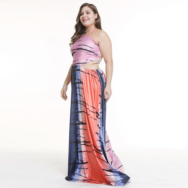 Plus Size Women European And American Halter Sexy Strapless Sleeveless Dress Long Skirt
