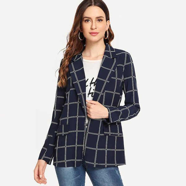 Female New Wild Handsome Plaid Suit Jacket British Jacket Harajuku Autumn Net Red Jacket