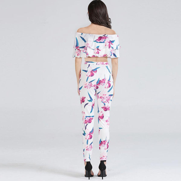 Summer European And American Women Suit Sexy Nightclub Digital Printing Two-piece Trousers