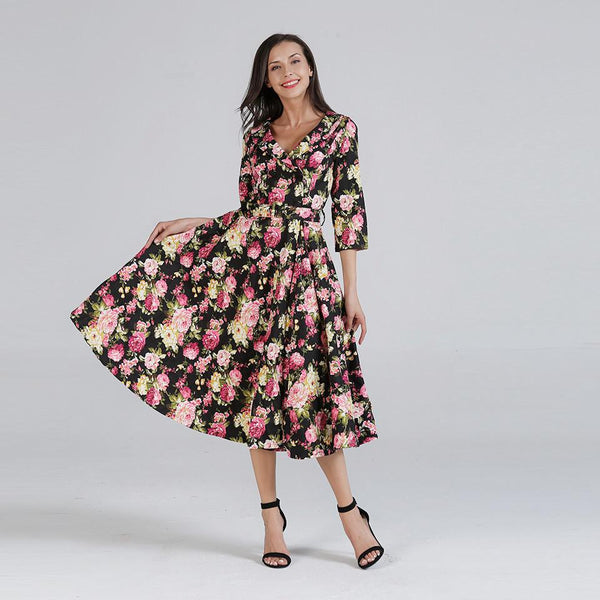 Women Autumn New Printed Dress With Tie Tie Elastic Waist Mid-length Skirt Single-breasted Pleated Skirt