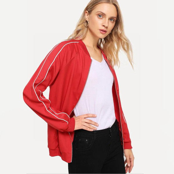 Autumn Fashion Jacket Sweater Zipper Shirt Tooling Thin Casual Sports Solid Color Two Bars Women Clothing