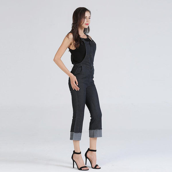 New European And American Denim Slim Cropped Jumpsuit Washed Flared Jeans