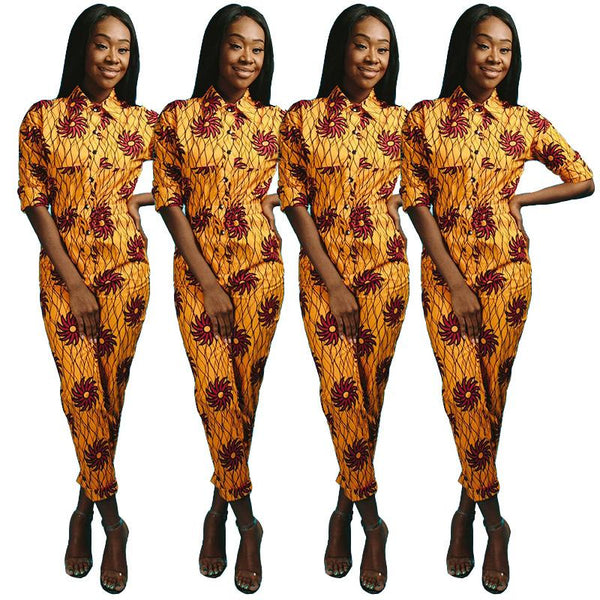 Printed Jumpsuit Lapel Button Long Sleeve Elastic High Waist Waist Slim Jumpsuit