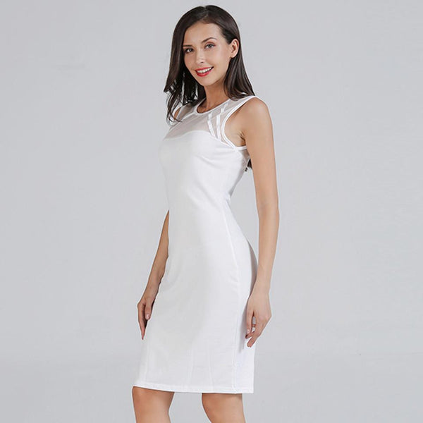 Women European And American Sleeveless See-through Tight Dress Bag Hip Skirt