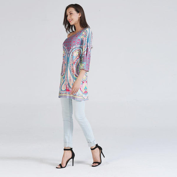 Autumn New Women Printed Diagonal Shoulder Flared Sleeves Loose Casual