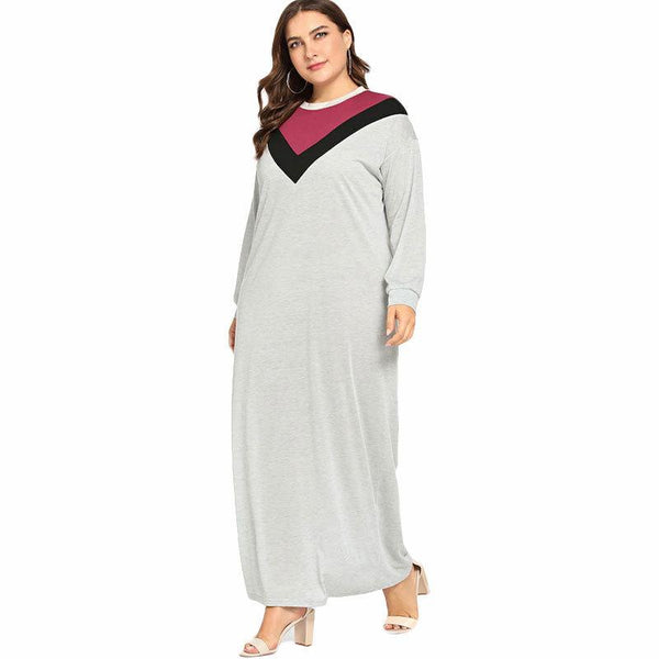 Plus Size Women Autumn And Winter New Solid Color Long-sleeved Long Skirt Dress