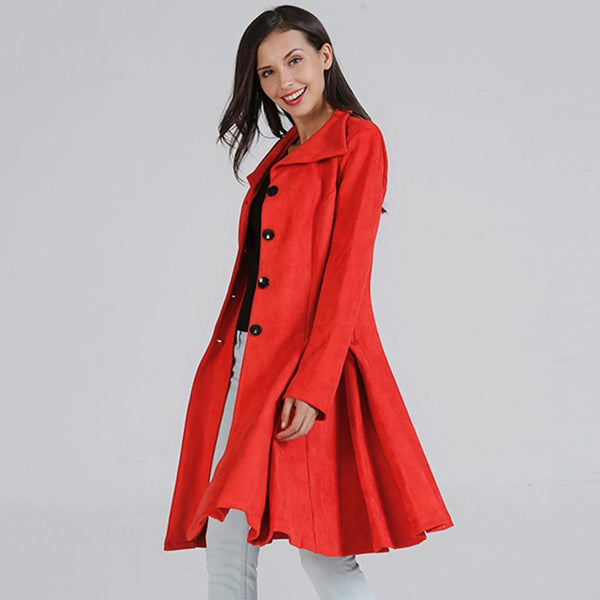 Women New European Style Beautiful Fit Mid-length Woolen Coat Thick Coat