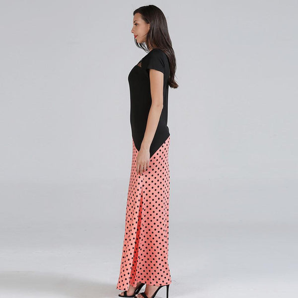 Cross-border Sources European And American Women New Long Skirts Amazon Summer Casual Stitching Polka-dot Dress