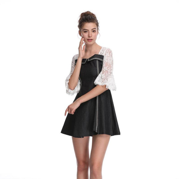 Summer New Women Lace Dress Round Neck Flared Sleeves High Waist Slim Slimming Women Clothing Wholesale
