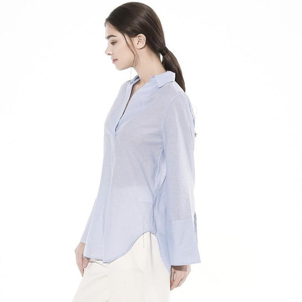 Stall New Blue Shirt Women Long-sleeved Spring Korean Version Of Loose Casual Wild One-breasted Long-sleeved Shirt