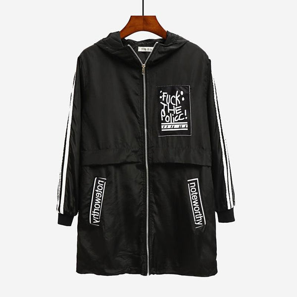 Autumn New College Style Long Loose Baseball Uniform Jacket Patch Printed Windbreaker Jacket
