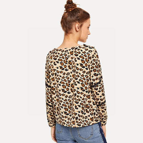Cross-border Leopard Print Women European And American Lace Sexy Lace Long Sleeve T-shirt