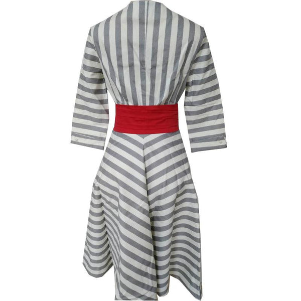 Spring New Women European And American Striped V-neck Mid-length And Large Dress Women