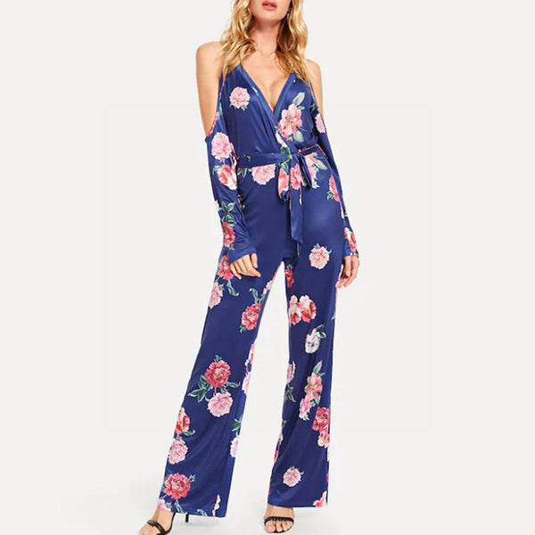 European And American Autumn New Digital Printing V-neck Long-sleeved Strapless Jumpsuit Trousers