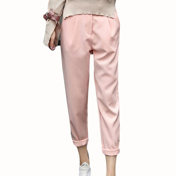 Stall Autumn And Winter New Korean Version Of The High-waisted Pipe Nine-point Harem Trousers Woolen Casual Pants Women